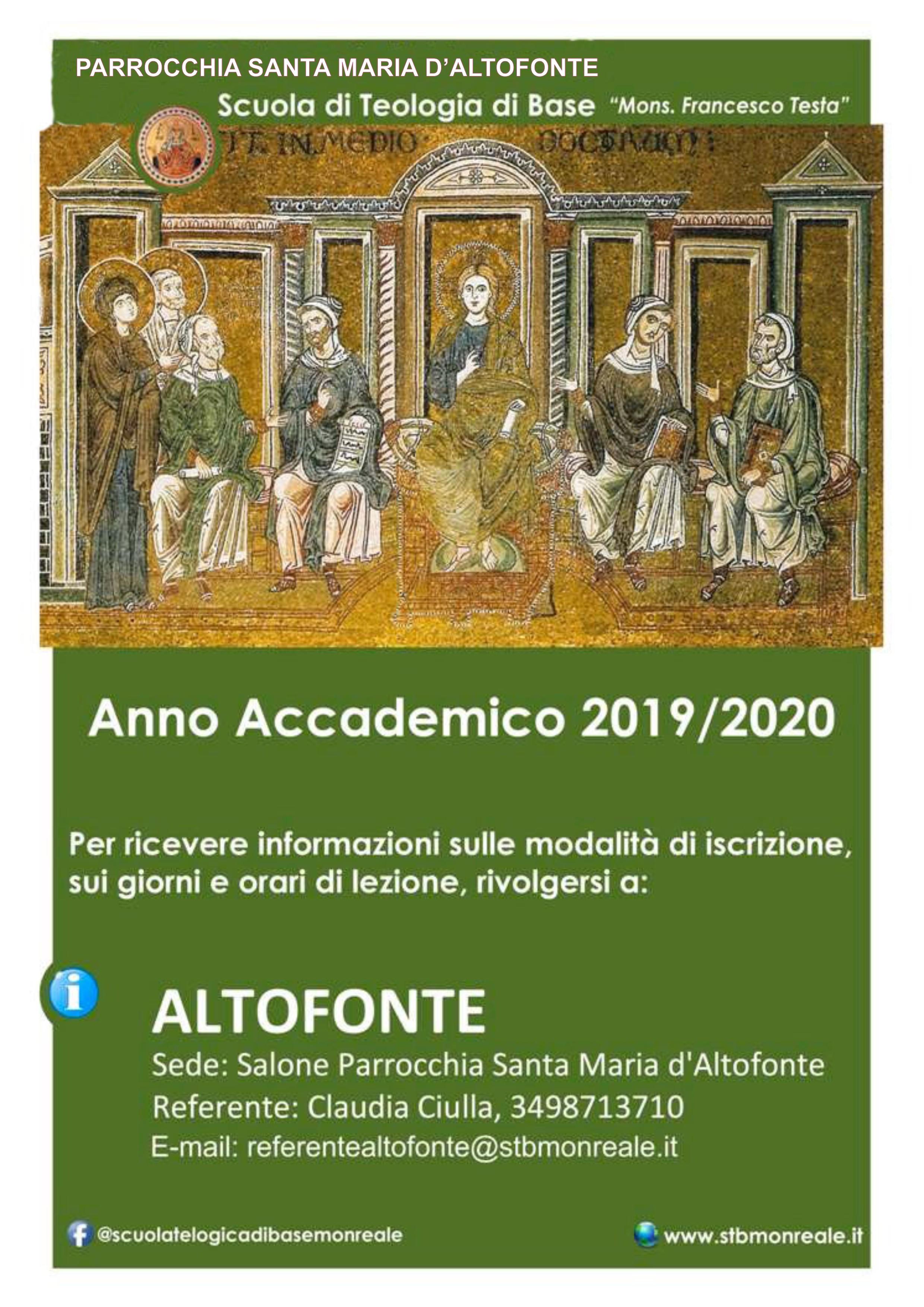 Calendario Pastorale 2020.Www Parrocchiasantamariaaltofonte It Scuola Di Teologia Di